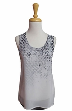 Picadilly Fashions #US326CX Black/White Chiffon Overlay Flare Tank Top/Final Sale