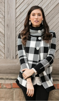 """Sharon Young """"High Contrast"""" #S37332KM Plaid Jacket"""