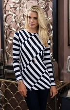 Sharon Young #S17219TM Navy/White Spliced Stripe Top/Final Sale