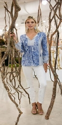 Sharon Young #S17307BM Blue Multi Mixed Media Print Blouse/Final Sale