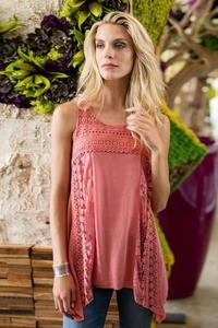 Sharon Young #S17318TM Rose Mixed Media Tank Top/Final Sale