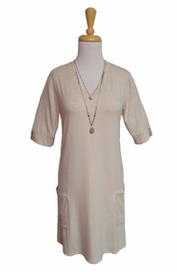 Simply Noelle #DRES126Z Almond Stripe Heathered Bucket Pocket Day Dress/Final Sale