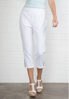 Simply Noelle #PNT104 White Cropped Snap Ankle Pant/Final Sale