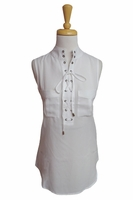 Simply Noelle #TOP100 Lace Up Grommet White Tank Top/Final Sale