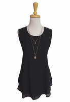 Simply Noelle #TOP107 Double Layer Black Sleeveless Top/Final Sale