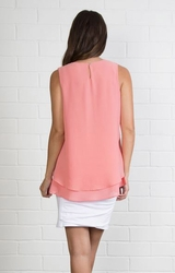 Simply Noelle #TOP107 Double Layer Watermelon Sleeveless Top/Final Sale