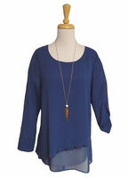 Simply Noelle #TOP117AZ Diagonal Split Harbour Blue Button Top/Final Sale