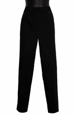 Slim Sation #M17703PM Rib Band Pull On Black Ankle Pant/Back Pockets