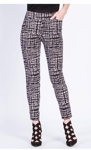 Slim Sation #M17708PM Surround Comfort Black/White Dot Print Pant/Front Pockets