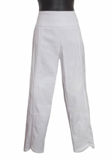 Slim Sation #M17712PM White Tulip Hem Crop Pant/No Pockets