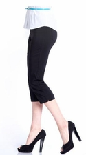 Slim Sation #M2603P Everyday Slim-Fit Black Capri/Back Pockets Only