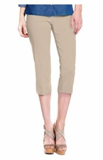 Slim Sation #M2603P Everyday Slim-Fit Stone Capri/Back Pockets Only