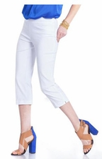 Slim Sation #M2603P Everyday Slim-Fit White Capri/Back Pockets Only/Final Sale