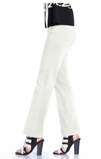 Slim Sation #M2606P Seasonless Basic Relaxed White Pant/No Pockets/Final Sale