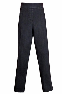 Slim Sation #M2606P Seasonless Basic Relaxed Black Denim Pant/No Pockets/Final Sale