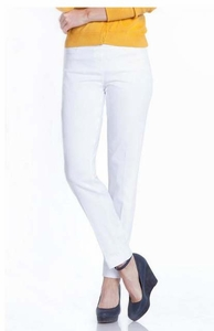Slim Sation #M2623P Slim Form White Ankle Pant/Back Pockets