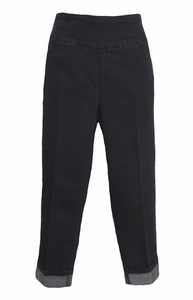 Slim Sation #M2638P Black Denim Boyfriend Crop Pant/Back Pockets
