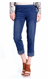 Slim Sation #M2638P Dark Indigo Boyfriend Crop Pant/Back Pockets