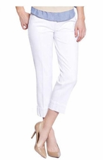 Slim Sation #M2638P White Boyfriend Crop Pant/Back Pockets