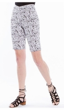 Slim Sation #M27714WM Black/White Doodle Print Walking Short/Front Pockets/Final Sale