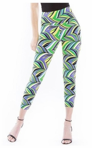 Slim Sation #M27718PM Stripe Print Crop Legging/Final Sale