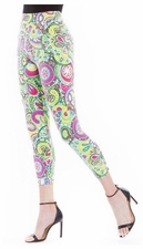Slim Sation #M27719PM Multi Lace Print Crop Legging/Final Sale