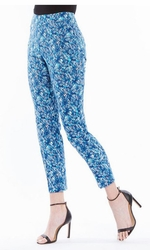 Slim Sation #M27723PM Lagoon Leaves Print Ankle Pant/Back Pockets Only/Final Sale
