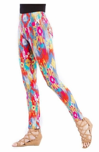 Slim Sation #M37704PM Watercolor Print Ankle Legging