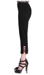 Slim Sation #M9038P Cut-Out Leg Detail Black Crop Pant/Front & Back Pockets