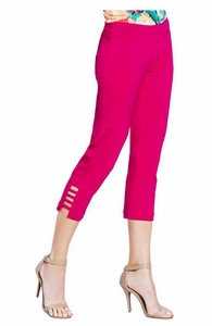 Slim Sation #M9038P Cut-Out Leg Detail Bright Pink Crop Pant/Front & Back Pockets