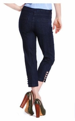 Slim Sation #M9038P Cut-Out Leg Detail Denim Crop Pant/Front & Back Pockets