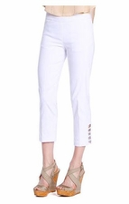 Slim Sation #M9038P Cut-Out Leg Detail White Crop Pant/Front & Back Pockets