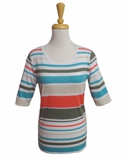 Tribal #23410-5415 Papaya Stripe Elbow Sleeve Top/Final Sale