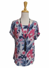 Tribal #51040-229 Deep Rose Cap Sleeve Top/Final Sale