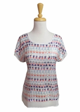 Tribal #56130-775 Coral Sky Cap Sleeve Top/Final Sale