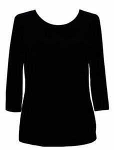 Valentina #PHLSOLID Black 3/4 Sleeve Top