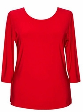 Valentina #PHLSOLID Red 3/4 Sleeve Top