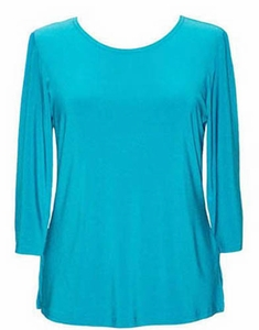 Valentina #PHLSOLID Turquoise 3/4 Sleeve Top