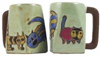 Mara Mug - Cats Whimsical Designs on Tan 12oz
