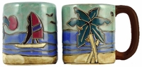 Mara Mug - Palm Trees & Wind Surfers 16oz