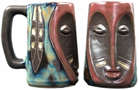Mara Sculpted Beer Stein - Face / Feather 15oz