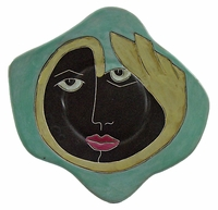 "Mara Stoneware 12"" Dinner Plates - Green-Faces"
