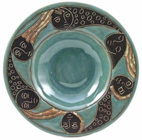 "Mara Stoneware 12"" Pasta Plate - Faces Abstract - Slate"