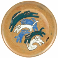 "Mara Stoneware 12"" Platter - Kitties/Tan"