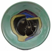 Mara Stoneware 20oz Bowls - Green-Faces