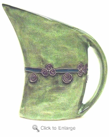 Mara Stoneware 32oz Curved Pitcher - Antique Green