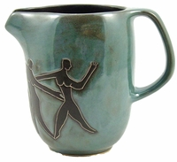 Mara Stoneware 48oz  Serving Pitcher - Dancers/Faces