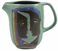 Mara Stoneware 48oz  Serving Pitcher - Faces-Light Green