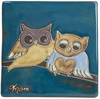 "Mara Stoneware 6""X6"" Tile - Owls On Branch"