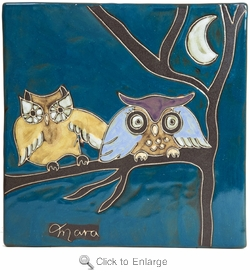 "Mara Stoneware 8""X8"" Trivet - Owls on Branch"